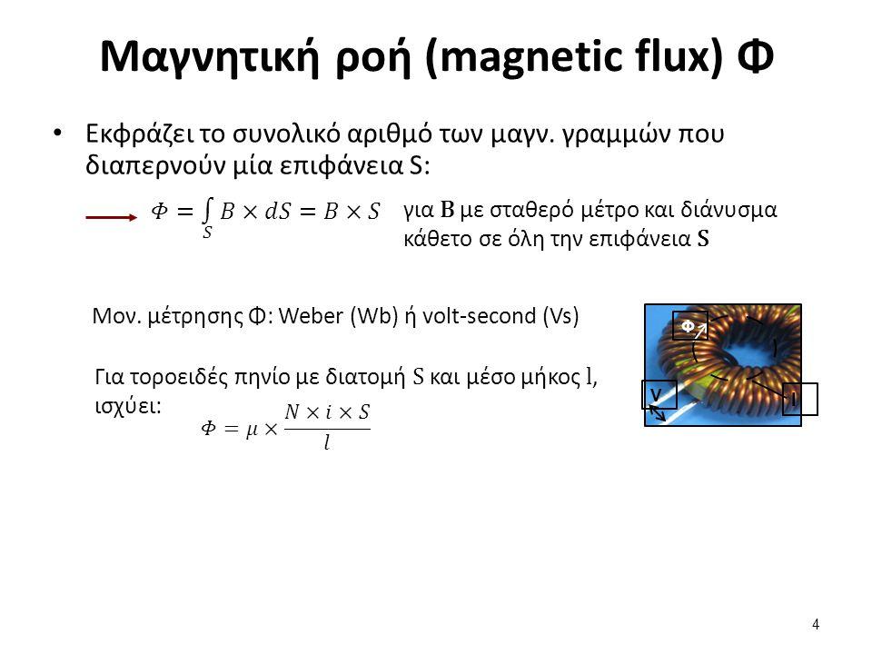 Μαγνητική ροή (magnetic flux) Φ Εκφράζει το συνολικό αριθμό των μαγν. γραμμών που διαπερνούν μία επιφάνεια S: 4 για B με σταθερό μέτρο και διάνυσμα κά