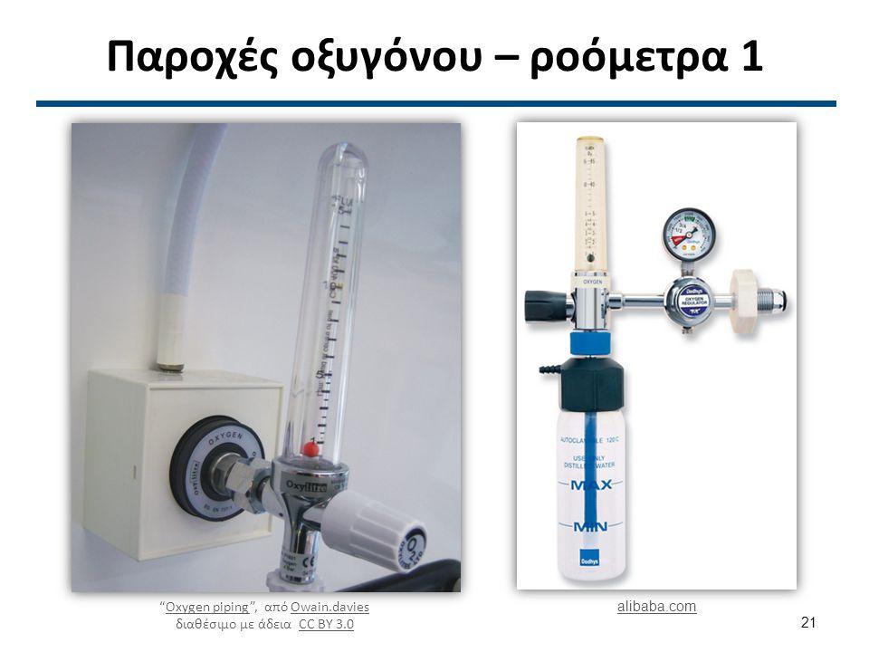 Παροχές οξυγόνου – ροόμετρα 1 Oxygen piping , από Owain.davies διαθέσιμο με άδεια CC BY 3.0Oxygen pipingOwain.daviesCC BY 3.0 alibaba.com 21