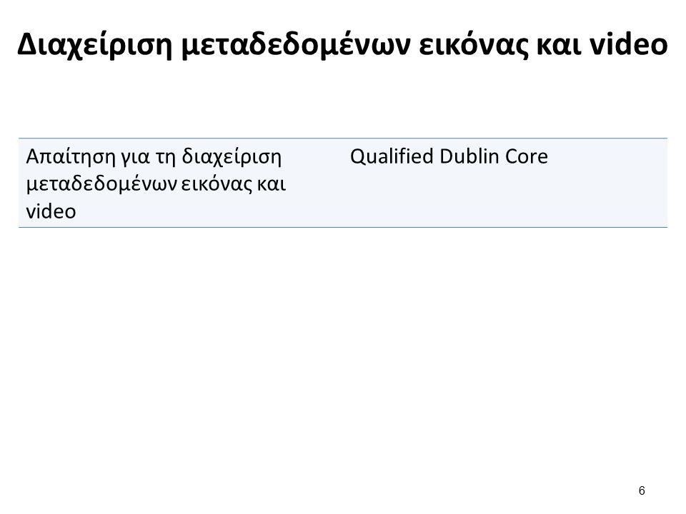Διαχείριση μεταδεδομένων εικόνας και video 6 Απαίτηση για τη διαχείριση μεταδεδομένων εικόνας και video Qualified Dublin Core