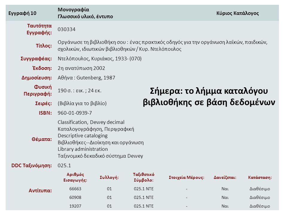 Εγγραφή 10 Μονογραφία Γλωσσικό υλικό, έντυπο Κύριος Κατάλογος Ταυτότητα Εγγραφής: 030334 Τίτλος: Οργάνωσε τη βιβλιοθήκη σου : ένας πρακτικός οδηγός γι