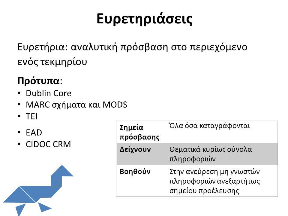 Ευρετηριάσεις Ευρετήρια: αναλυτική πρόσβαση στο περιεχόμενο ενός τεκμηρίου Πρότυπα: Dublin Core MARC σχήματα και MODS TEI EAD CIDOC CRM Σημεία πρόσβασ