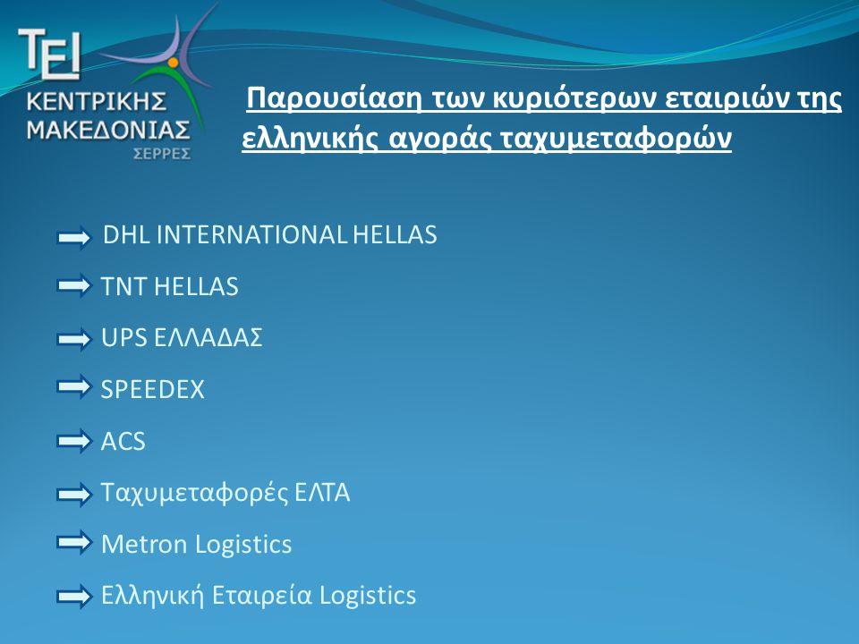 DHL INTERNATIONAL HELLAS TNT HELLAS UPS ΕΛΛΑΔΑΣ SPEEDEX ACS Ταχυμεταφορές ΕΛΤΑ Metron Logistics Ελληνική Εταιρεία Logistics Παρουσίαση των κυριότερων