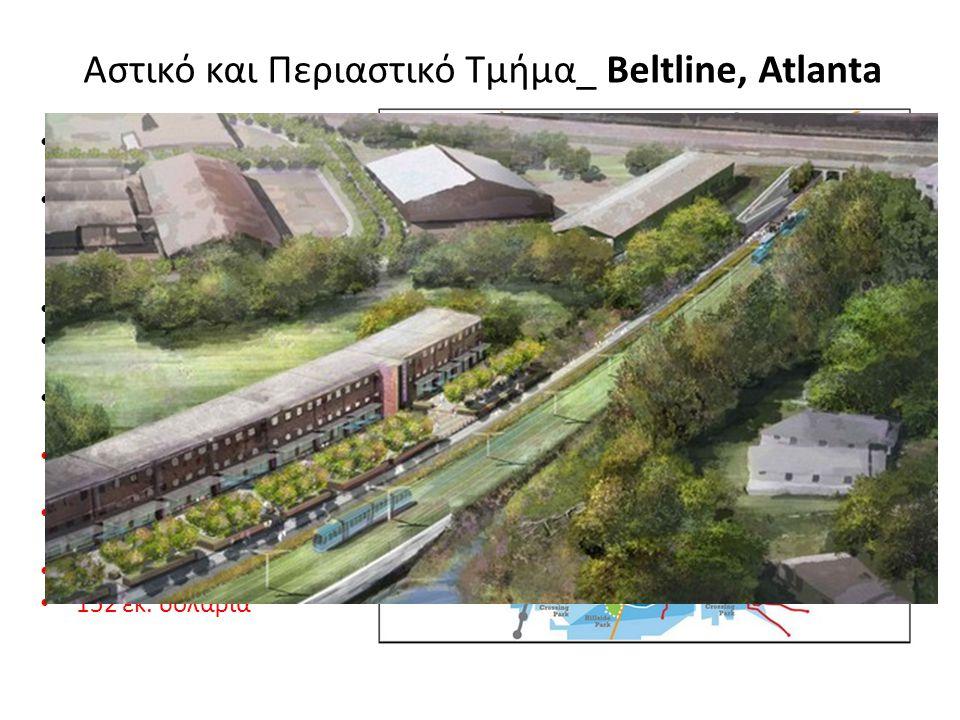 Αστικό και Περιαστικό Τμήμα_ Beltline, Atlanta Δακτύλιος γύρω από την πόλη Στρατηγικό Σχέδιο Ανάπλασης 25ετίας – Συνδεση κινητικότητας – μεταφορών- TOD Μήκος 35,4 χλμ Έπιφάνεια επιρροής 10,3 τετρ.χλμ Συνδέει 45 κοινότητες και πολλές πρών ΒΙ.ΠΕ.