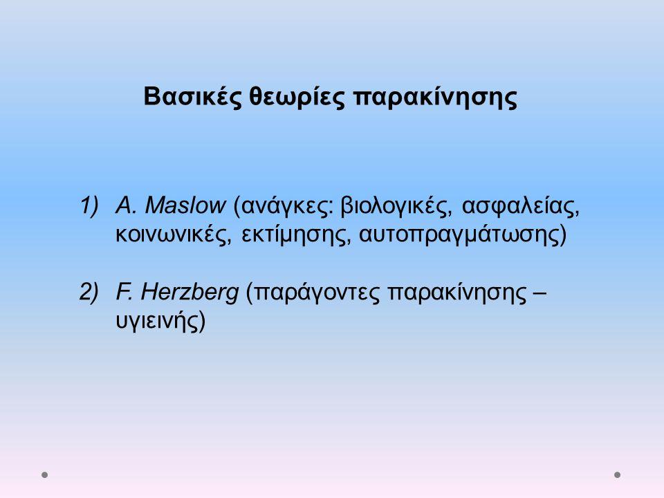 Βασικές θεωρίες παρακίνησης 1)A. Maslow (ανάγκες: βιολογικές, ασφαλείας, κοινωνικές, εκτίμησης, αυτοπραγμάτωσης) 2)F. Herzberg (παράγοντες παρακίνησης