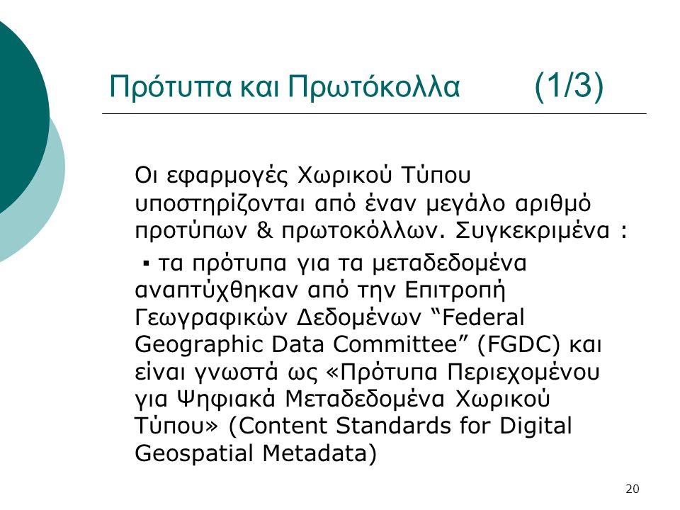 20 Πρότυπα και Πρωτόκολλα (1/3) Οι εφαρμογές Χωρικού Τύπου υποστηρίζονται από έναν μεγάλο αριθμό προτύπων & πρωτοκόλλων.