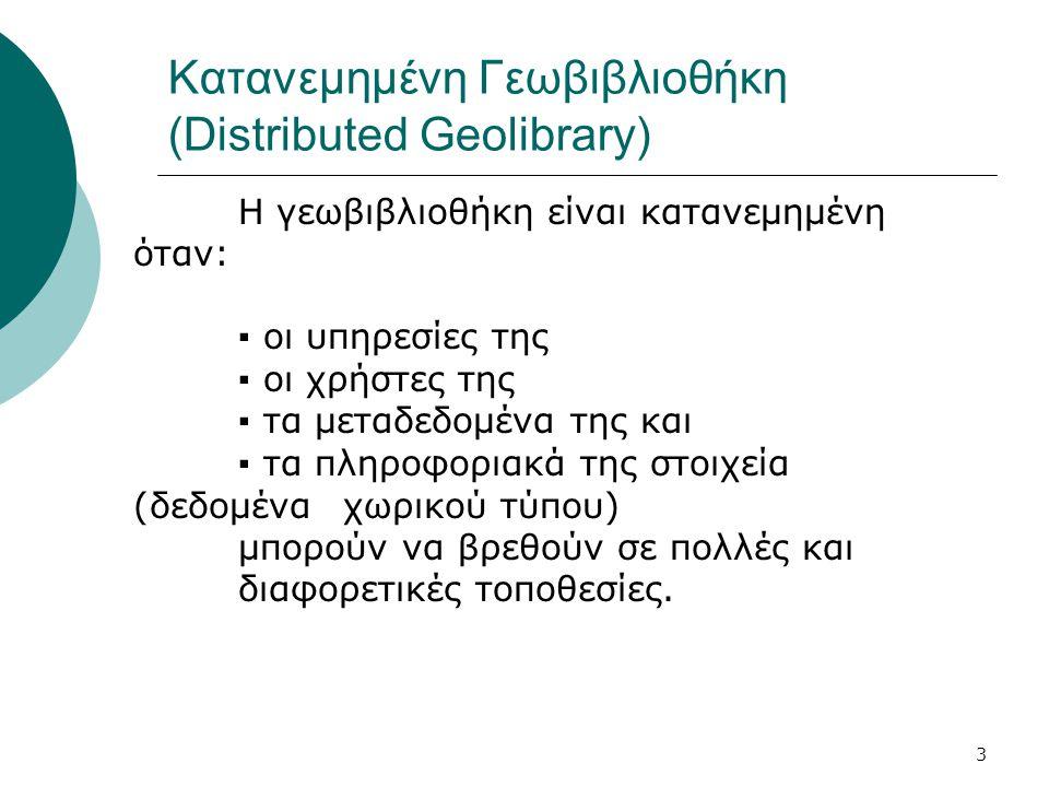 3 Κατανεμημένη Γεωβιβλιοθήκη (Distributed Geolibrary) Η γεωβιβλιοθήκη είναι κατανεμημένη όταν: ▪ οι υπηρεσίες της ▪ οι χρήστες της ▪ τα μεταδεδομένα της και ▪ τα πληροφοριακά της στοιχεία (δεδομένα χωρικού τύπου) μπορούν να βρεθούν σε πολλές και διαφορετικές τοποθεσίες.