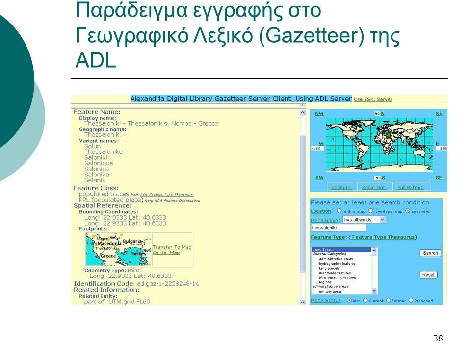 38 Παράδειγμα εγγραφής στο Γεωγραφικό Λεξικό (Gazetteer) της ADL