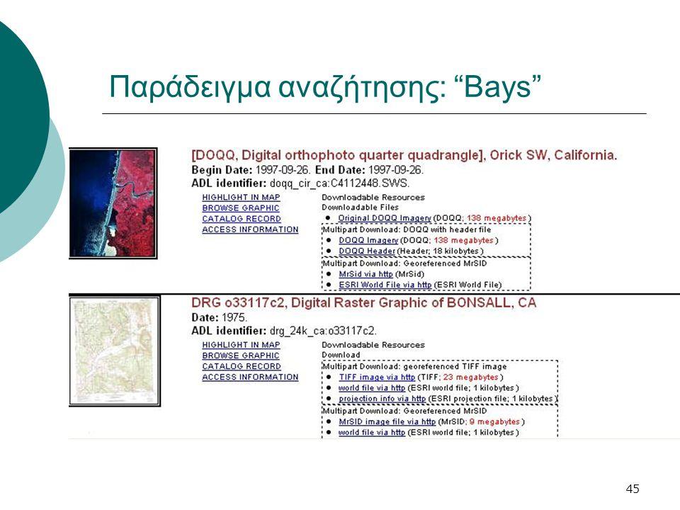 45 Παράδειγμα αναζήτησης: Bays