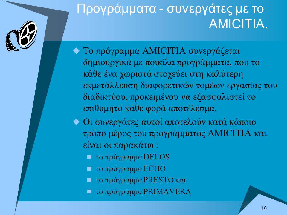 10 Προγράμματα - συνεργάτες με το AMICITIA.