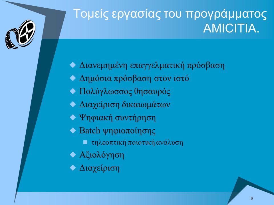 8 Τομείς εργασίας του προγράμματος AMICITIA.