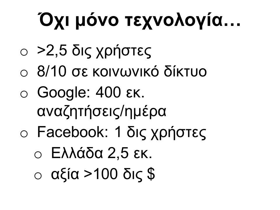Όχι μόνο τεχνολογία… o >2,5 δις χρήστες o 8/10 σε κοινωνικό δίκτυο o Google: 400 εκ. αναζητήσεις/ημέρα o Facebook: 1 δις χρήστες o Ελλάδα 2,5 εκ. o αξ