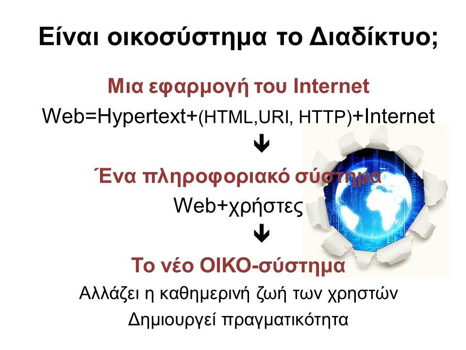 Είναι οικοσύστημα το Διαδίκτυο; Μια εφαρμογή του Internet Web=Hypertext+ (HTML,URI, HTTP) +Internet  Ένα πληροφοριακό σύστημα Web+χρήστες  Το νέο ΟΙ