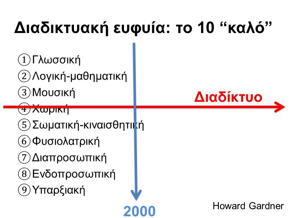 """Διαδικτυακή ευφυία: το 10 """"καλό"""" Howard Gardner Διαδίκτυο 2000"""