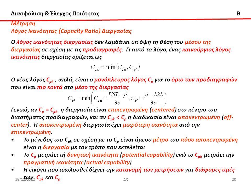 Διασφάλιση & Έλεγχος Ποιότητας B 18/12/2012ΔΧ2010-4-2009ΔΧ20 Μέτρηση Λόγος Ικανότητας (Capacity Ratio) Διεργασίας Ο λόγος ικανότητας διεργασίας δεν λα