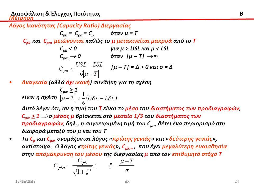 Διασφάλιση & Έλεγχος Ποιότητας B 18/12/2012ΔΧ2410-4-2009ΔΧ24 Μέτρηση Λόγος Ικανότητας (Capacity Ratio) Διεργασίας C pk = C pm = C p όταν μ = Τ C pk κα