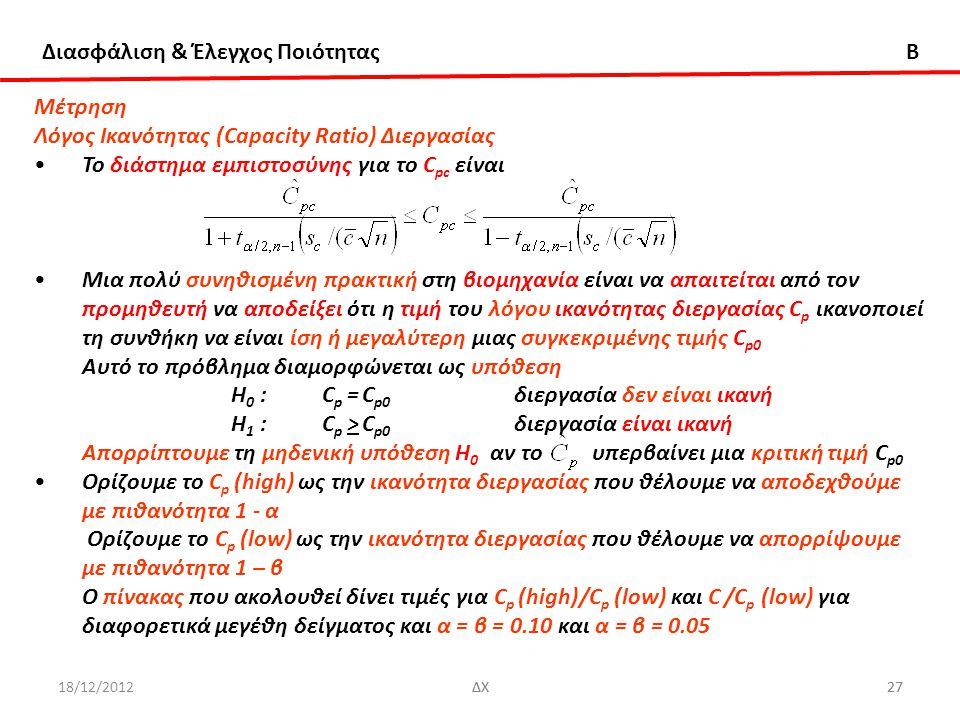 Διασφάλιση & Έλεγχος Ποιότητας B 18/12/2012ΔΧ27ΔΧ27 Μέτρηση Λόγος Ικανότητας (Capacity Ratio) Διεργασίας Το διάστημα εμπιστοσύνης για το C pc είναι Μι