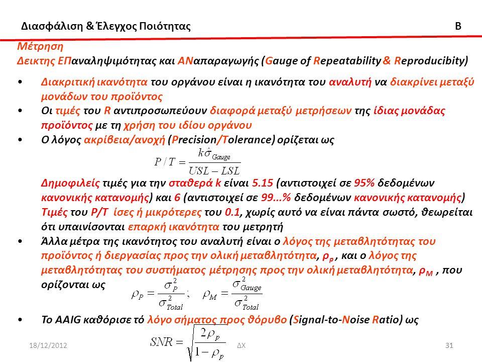 Διασφάλιση & Έλεγχος Ποιότητας B 18/12/201231ΔΧ31 Μέτρηση Δεικτης ΕΠαναληψιμότητας και ΑΝαπαραγωγής (Gauge of Repeatability & Reproducibity) Διακριτικ