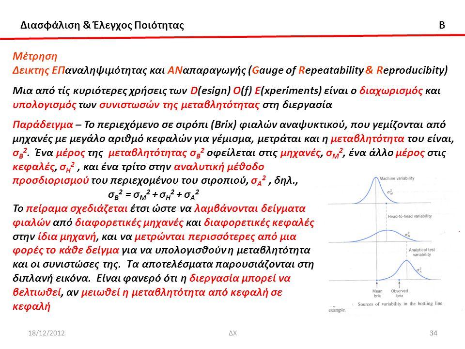 Διασφάλιση & Έλεγχος Ποιότητας B 18/12/201234ΔΧ34 Μέτρηση Δεικτης ΕΠαναληψιμότητας και ΑΝαπαραγωγής (Gauge of Repeatability & Reproducibity) Μια από τ