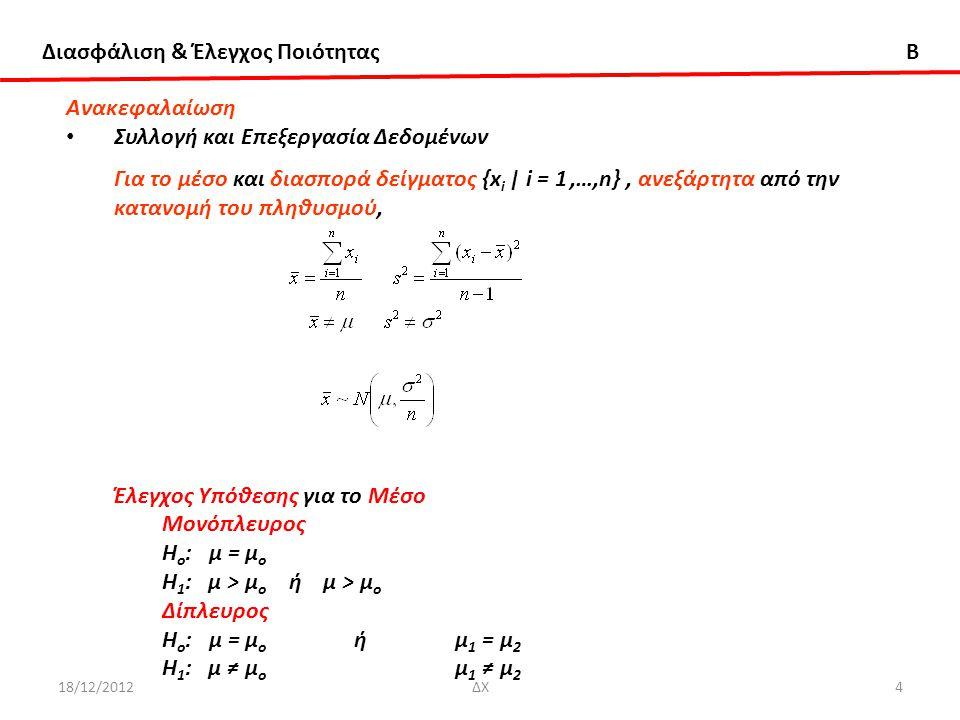 Διασφάλιση & Έλεγχος Ποιότητας B 18/12/2012ΔΧ4 Ανακεφαλαίωση Συλλογή και Επεξεργασία Δεδομένων Για το μέσο και διασπορά δείγματος {x i | i = 1,…,n}, α