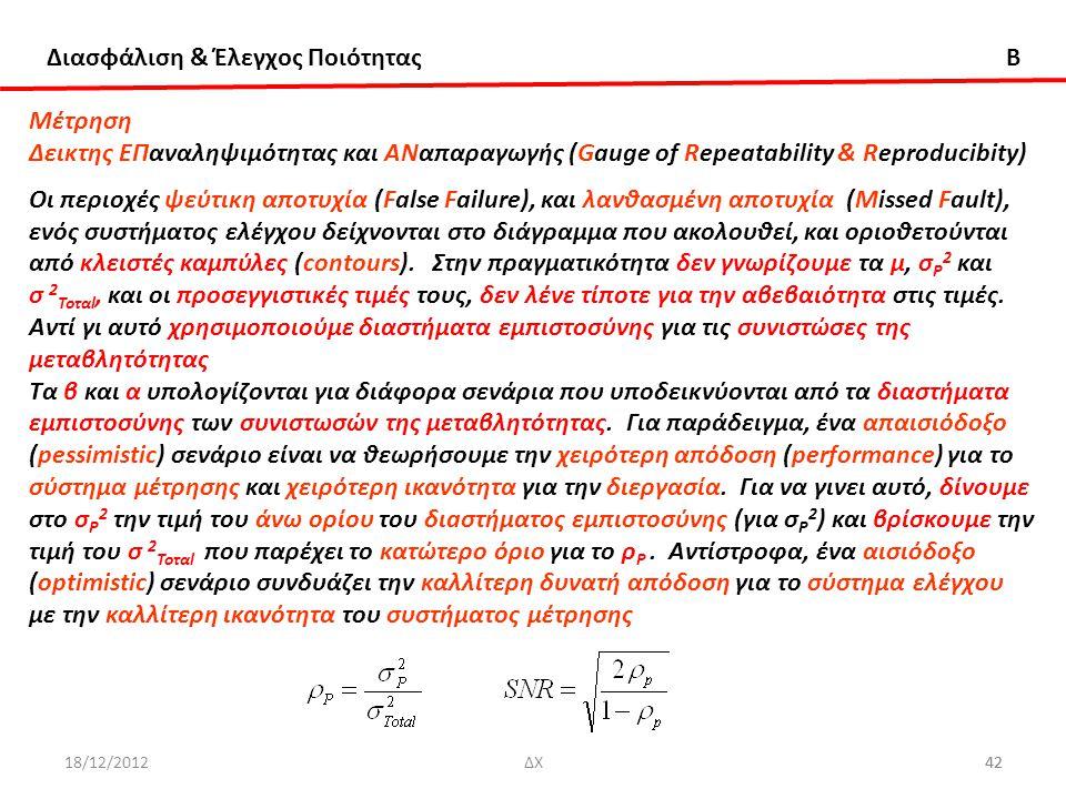 Διασφάλιση & Έλεγχος Ποιότητας B 18/12/201242ΔΧ42 Μέτρηση Δεικτης ΕΠαναληψιμότητας και ΑΝαπαραγωγής (Gauge of Repeatability & Reproducibity) Οι περιοχ