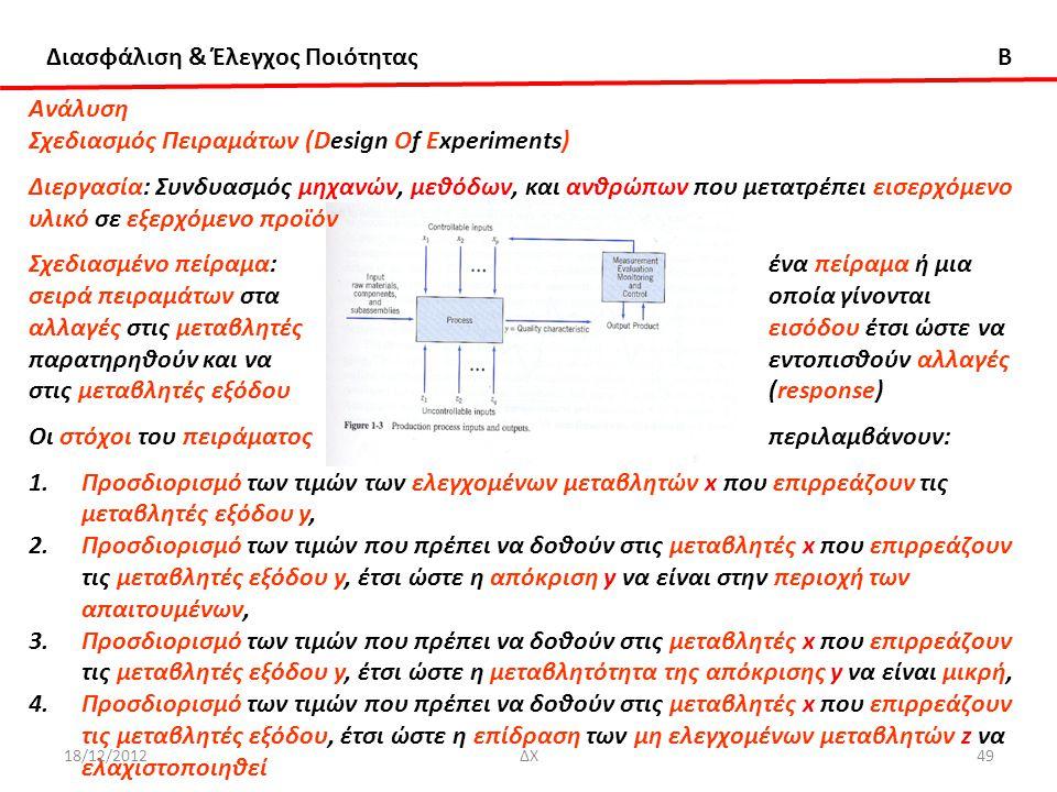 Διασφάλιση & Έλεγχος Ποιότητας B Aνάλυση Σχεδιασμός Πειραμάτων (Design Of Experiments) Διεργασία: Συνδυασμός μηχανών, μεθόδων, και ανθρώπων που μετατρ