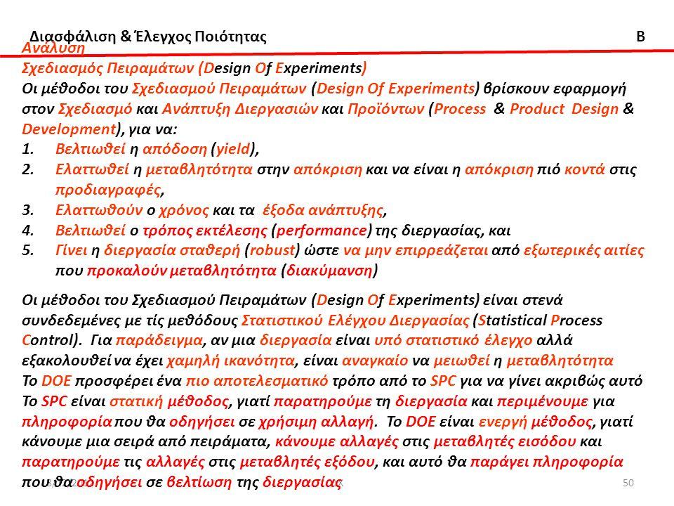Διασφάλιση & Έλεγχος Ποιότητας B 18/12/2012ΔΧ50 Aνάλυση Σχεδιασμός Πειραμάτων (Design Of Experiments) Οι μέθοδοι του Σχεδιασμού Πειραμάτων (Design Of