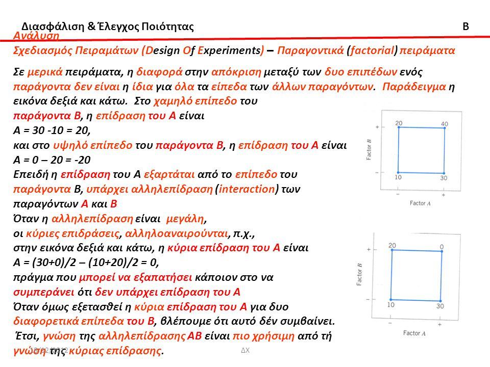 Διασφάλιση & Έλεγχος Ποιότητας B Ανάλυση Σχεδιασμός Πειραμάτων (Design Of Experiments) – Πaραγοντικά (factorial) πειράματα Σε μερικά πειράματα, η διαφ