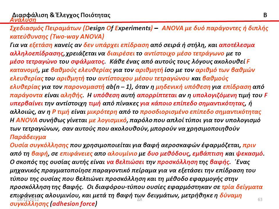 Διασφάλιση & Έλεγχος Ποιότητας B 18/12/2012ΔΧ63 Ανάλυση Σχεδιασμός Πειραμάτων (Design Of Experiments) – ANOVA με δυό παράγοντες ή διπλής κατεύθυνσης (