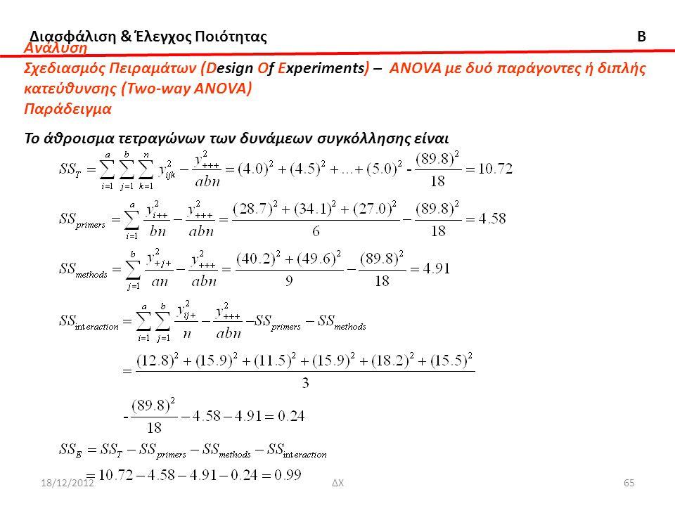 Διασφάλιση & Έλεγχος Ποιότητας B 18/12/2012ΔΧ65 Ανάλυση Σχεδιασμός Πειραμάτων (Design Of Experiments) – ANOVA με δυό παράγοντες ή διπλής κατεύθυνσης (