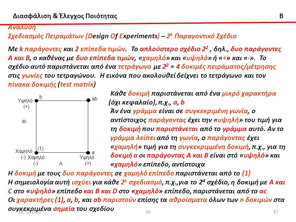 Διασφάλιση & Έλεγχος Ποιότητας B 18/12/2012ΔΧ67 Ανάλυση Σχεδιασμός Πειραμάτων (Design Of Experiments) – 2 k Παραγοντικό Σχέδιο Με k παράγοντες και 2 ε