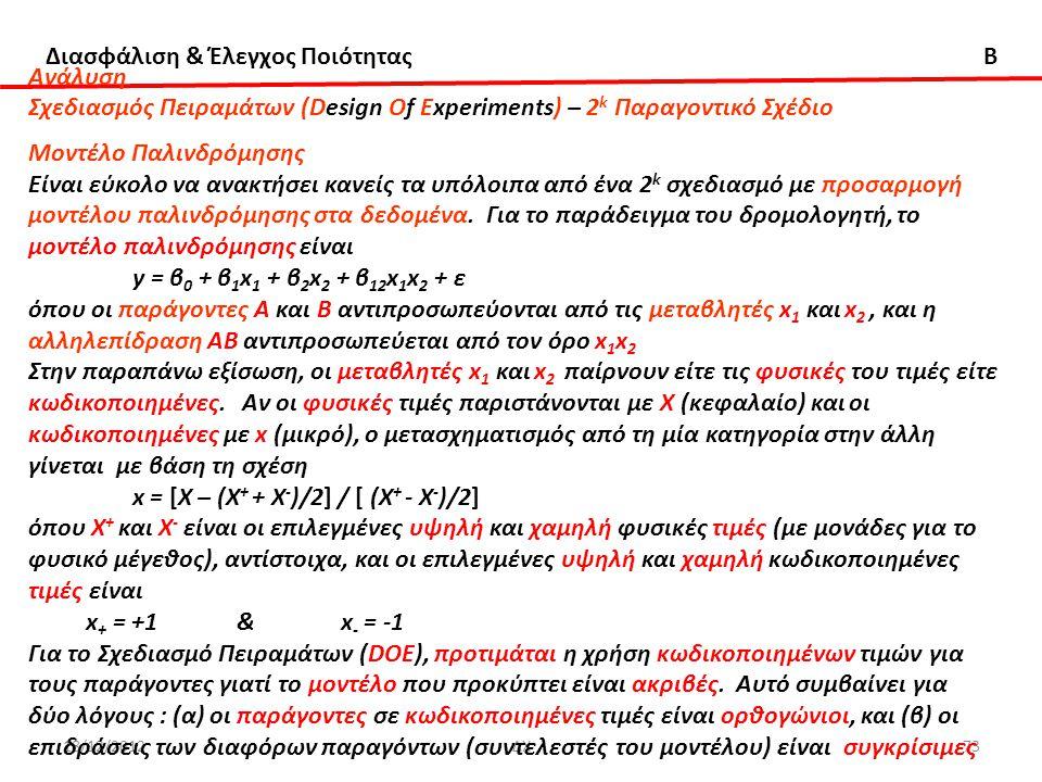 Διασφάλιση & Έλεγχος Ποιότητας B 18/12/2012ΔΧ73 Ανάλυση Σχεδιασμός Πειραμάτων (Design Of Experiments) – 2 k Παραγοντικό Σχέδιο Μοντέλο Παλινδρόμησης Ε