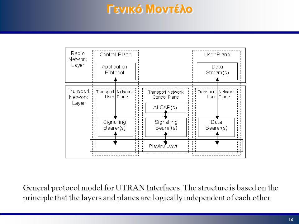 15 UMTS User Equipment UMTS UE = Mobile Equipment & UMTS SIM - USIM UMTS UE - Node B: FEC Power Control Radio Measurements Modulation - Demodulation W-CDMA Spreading/Despreading UMTS UE - RNC: Radio Resource Control Handover (CS) & Cell Selection (PS) Ciphering/De-ciphering UMTS UE - Core Network: Mobility Management(Location Registration/update, Attach-Detach) Session Management (PDP Context De/Activation) Service Request