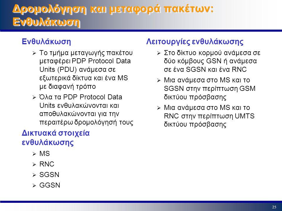 24 Στοίβα πρωτοκόλλων με UTRAN δίκτυο πρόσβασης Applicatio n UMTS Link IP TCP UDP IP TCP UDP Other Network IP TCP UDP GPRS Link UMTS Radio LinkGPRS Core Network Link MS RF MAC RLC PDCP RNS RF MAC RLC PDCP ATM AAL5 IP TCP/UDP GTP-U SGSN ATM AAL5 IP TCP/UDP GTP-U L1 L2 IP TCP/UDP GTP-U GGSN L1 L2 IP TCP/UDP GTP-U L2 IP