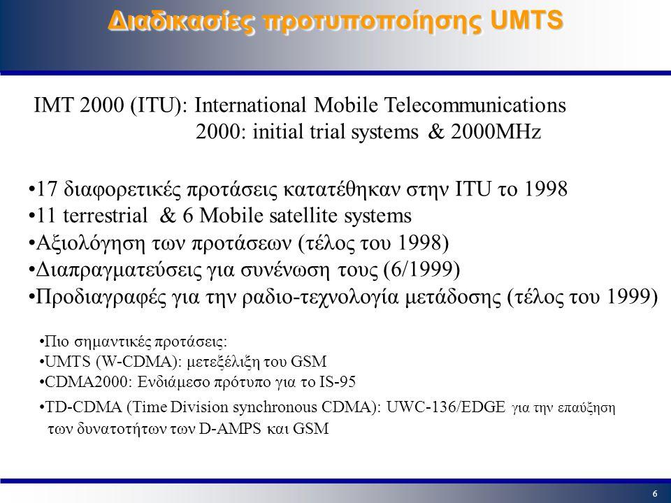 5 Χαρακτηριστικά του UMTS Κοινή παγκόσμια χρήση Υποστήριξη όλων των εφαρμογών Υποστήριξη PS (Packet Switched) & CS (Circuit Switch) Ρυθμοί μετάδοσης μέχρι 2Mbps (κινητικότητα - ταχύτητα) WCDMA (Wideband Code Division Multiple Access) 384 Kbps wide area coverage 2 Mbps local area coverage 10 ms frame length Chip rate = 3.84 Mchips/s FDD (Frequency Division Duplex) Uplink 1920-1980MHz;Downlink 2110-2170MHz Uplink 1850-1910MHz;Downlink 1930-1990MHz TDD (Time Division Duplex)