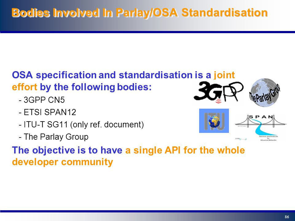 85OutlineOutline 0- Introduction 1- A closer look at OSA 2- The Parlay/OSA Framework 3- Example Parlay/OSA applications 4- Parlay/OSA standardisation - Bodies involved in Parlay/OSA standardisation - The Joint API Group 5- The next Parlay/OSA release 6- Summary, contacts