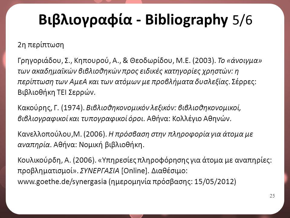 25 Βιβλιογραφία - Bibliography 5/6 2η περίπτωση Γρηγοριάδου, Σ., Κηπουρού, Α., & Θεοδωρίδου, Μ.Ε.