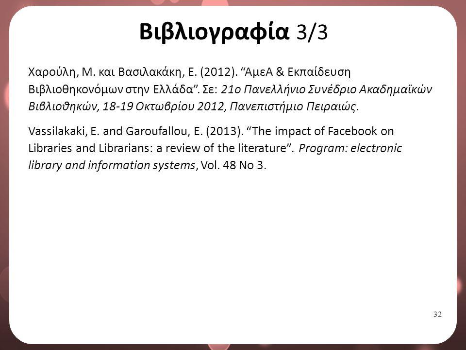 32 Βιβλιογραφία 3/3 Χαρούλη, Μ.και Βασιλακάκη, Ε.