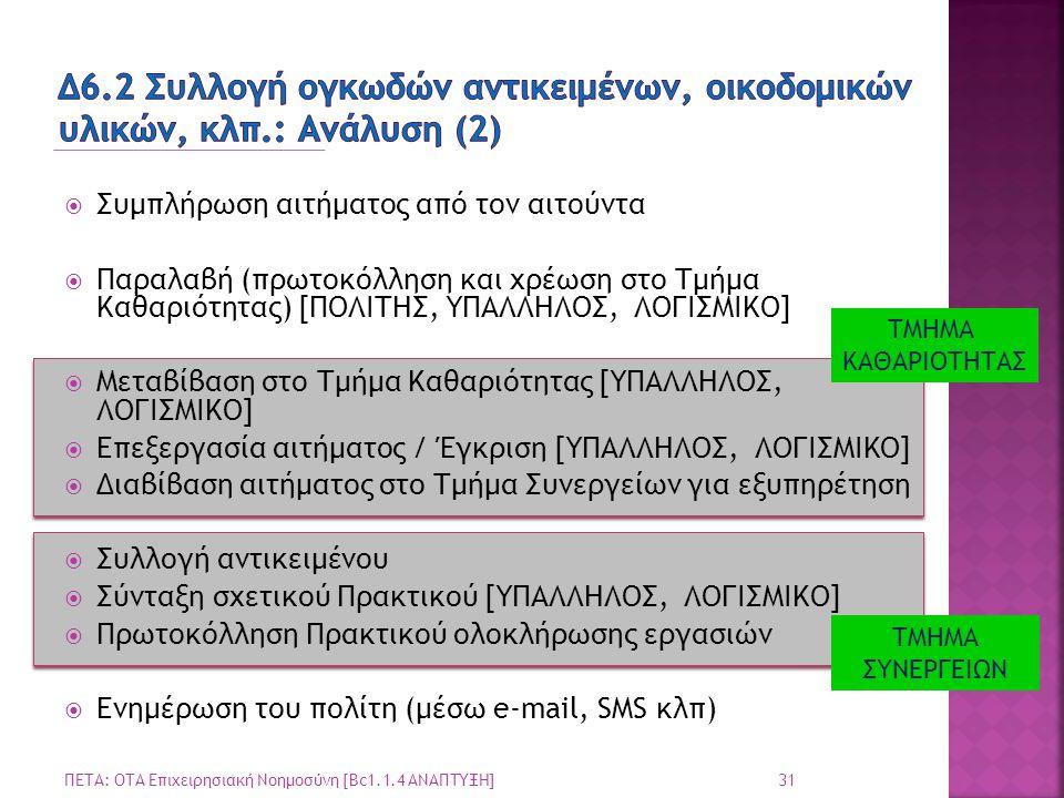  Συμπλήρωση αιτήματος από τον αιτούντα  Παραλαβή (πρωτοκόλληση και χρέωση στο Τμήμα Καθαριότητας) [ΠΟΛΙΤΗΣ, ΥΠΑΛΛΗΛΟΣ, ΛΟΓΙΣΜΙΚΟ]  Μεταβίβαση στο Τ
