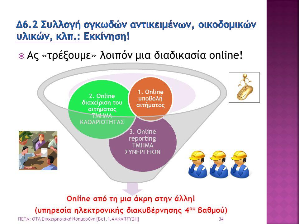  Ας «τρέξουμε» λοιπόν μια διαδικασία online! 34 ΠΕΤΑ: ΟΤΑ Επιχειρησιακή Νοημοσύνη [Bc1.1.4 ΑΝΑΠΤΥΞΗ] Online από τη μια άκρη στην άλλη! (υπηρεσία ηλεκ