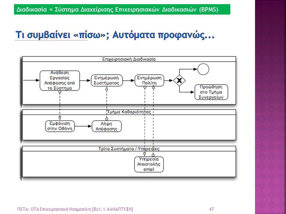 47 ΠΕΤΑ: ΟΤΑ Επιχειρησιακή Νοημοσύνη [Bc1.1.4 ΑΝΑΠΤΥΞΗ] Διαδικασία = Σύστημα Διαχείρισης Επιχειρησιακών Διαδικασιών (BPMS)