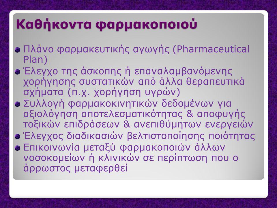 Καθήκοντα φαρμακοποιού Πλάνο φαρμακευτικής αγωγής (Pharmaceutical Plan) Έλεγχο της άσκοπης ή επαναλαμβανόμενης χορήγησης συστατικών από άλλα θεραπευτι