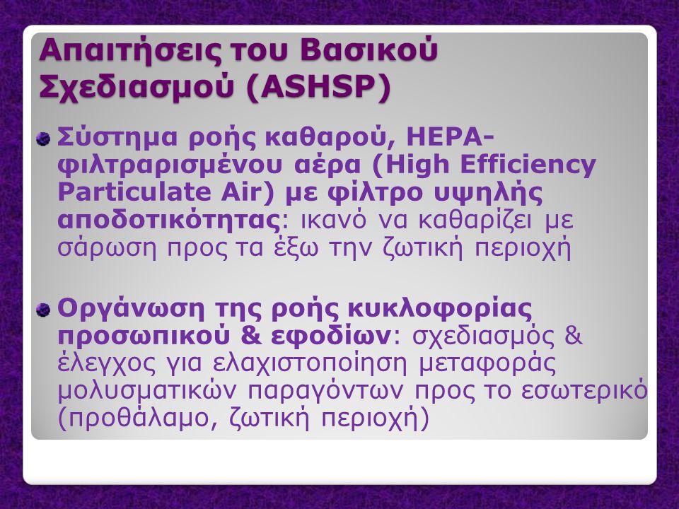 Απαιτήσεις του Βασικού Σχεδιασμού (ASHSP) Σύστημα ροής καθαρού, HEPA- φιλτραρισμένου αέρα (High Efficiency Particulate Air) με φίλτρο υψηλής αποδοτικότητας: ικανό να καθαρίζει με σάρωση προς τα έξω την ζωτική περιοχή Οργάνωση της ροής κυκλοφορίας προσωπικού & εφοδίων: σχεδιασμός & έλεγχος για ελαχιστοποίηση μεταφοράς μολυσματικών παραγόντων προς το εσωτερικό (προθάλαμο, ζωτική περιοχή)