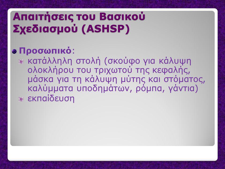 Απαιτήσεις του Βασικού Σχεδιασμού (ASHSP) Προσωπικό: κατάλληλη στολή (σκούφο για κάλυψη ολοκλήρου του τριχωτού της κεφαλής, μάσκα για τη κάλυψη μύτης και στόματος, καλύμματα υποδημάτων, ρόμπα, γάντια) εκπαίδευση