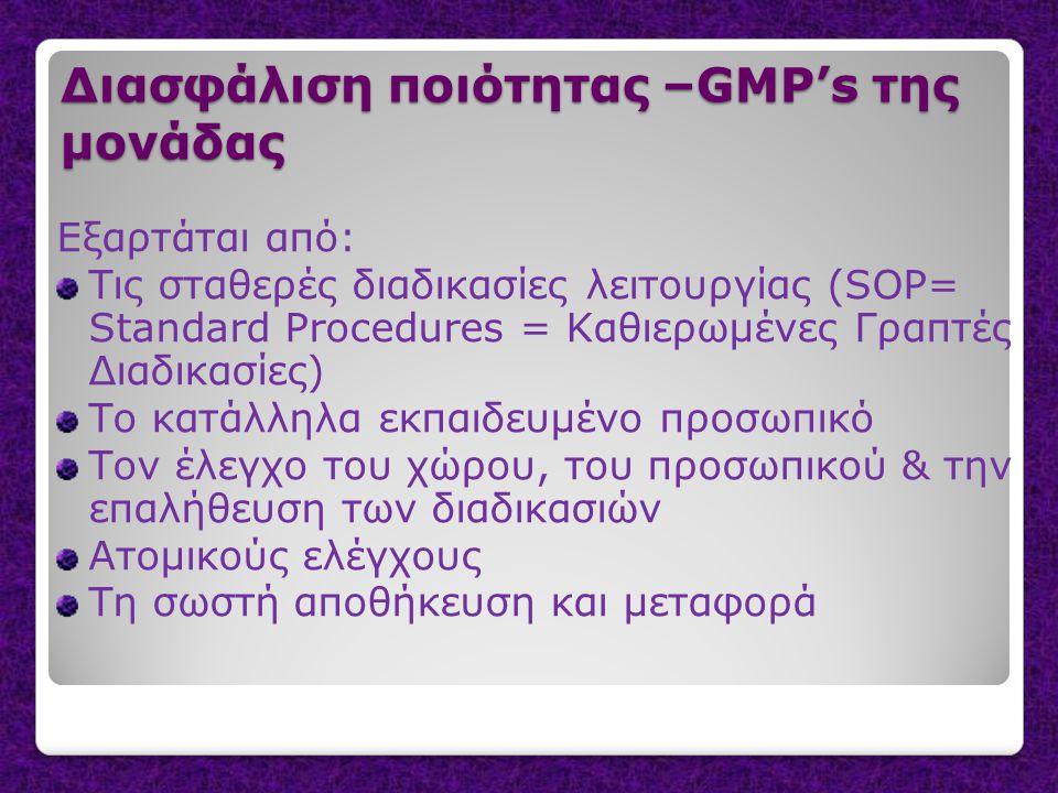 Διασφάλιση ποιότητας –GMP's της μονάδας Εξαρτάται από: Τις σταθερές διαδικασίες λειτουργίας (SOP= Standard Procedures = Καθιερωμένες Γραπτές Διαδικασίες) Το κατάλληλα εκπαιδευμένο προσωπικό Τον έλεγχο του χώρου, του προσωπικού & την επαλήθευση των διαδικασιών Ατομικούς ελέγχους Τη σωστή αποθήκευση και μεταφορά