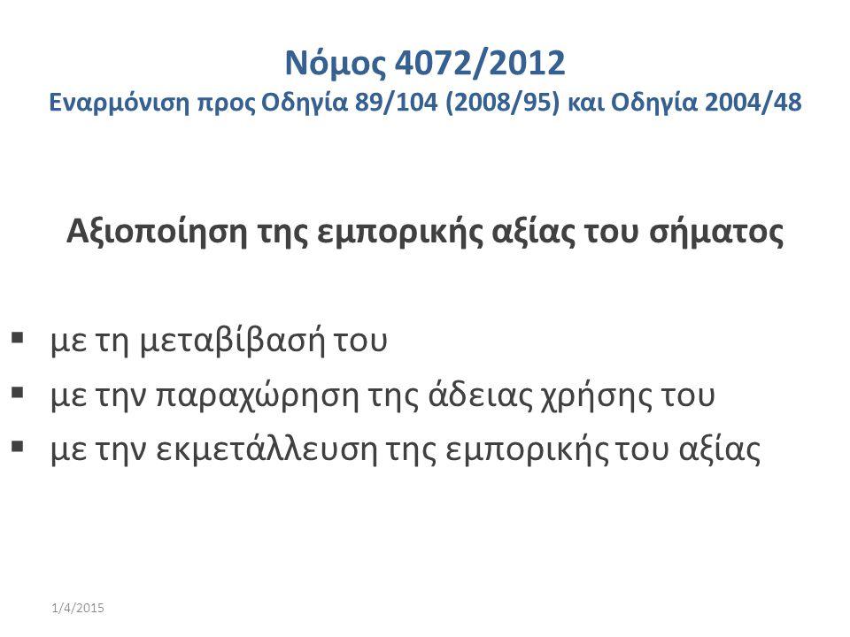 Νόμος 4072/2012 Εναρμόνιση προς Οδηγία 89/104 (2008/95) και Οδηγία 2004/48 Αξιοποίηση της εμπορικής αξίας του σήματος  με τη μεταβίβασή του  με την