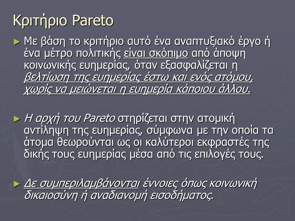 Κριτήριο Pareto ► Με βάση το κριτήριο αυτό ένα αναπτυξιακό έργο ή ένα μέτρο πολιτικής είναι σκόπιμο από άποψη κοινωνικής ευημερίας, όταν εξασφαλίζεται
