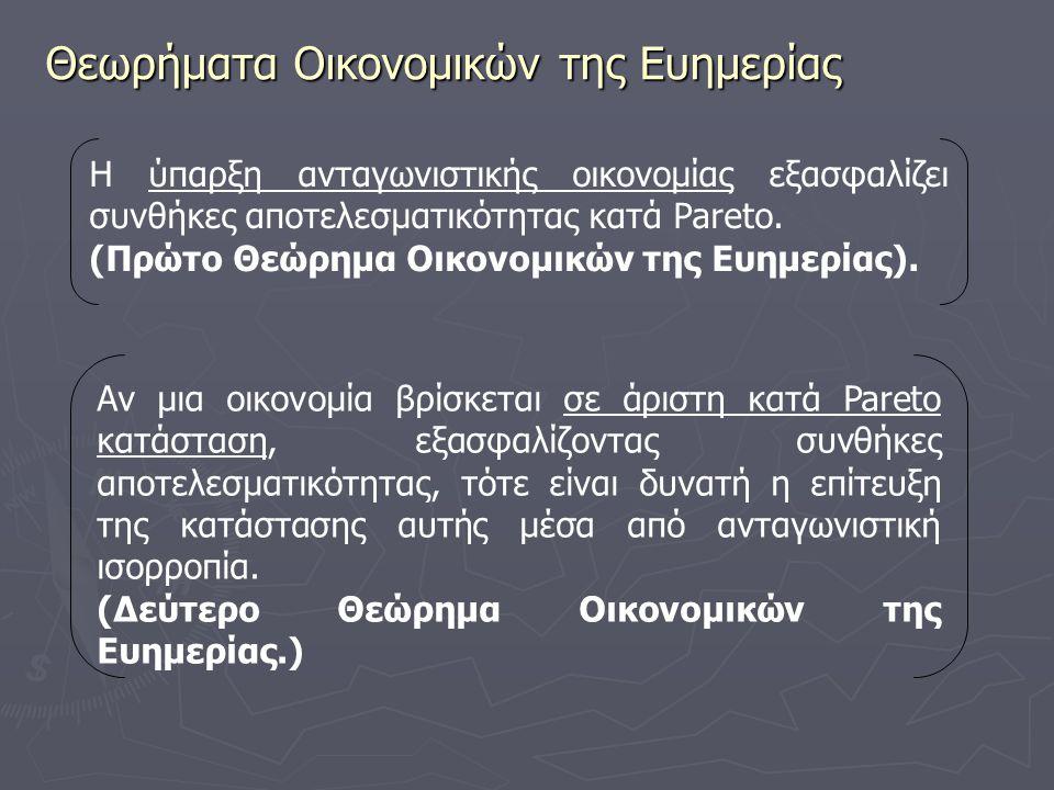 Θεωρήματα Οικονομικών της Ευημερίας Η ύπαρξη ανταγωνιστικής οικονομίας εξασφαλίζει συνθήκες αποτελεσματικότητας κατά Pareto. (Πρώτο Θεώρημα Οικονομικώ