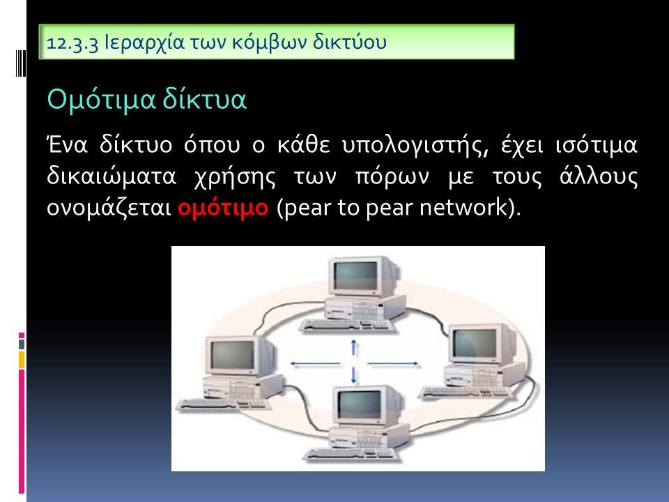 12.3.3 Ιεραρχία των κόμβων δικτύου Ένα δίκτυο όπου ο κάθε υπολογιστής, έχει ισότιμα δικαιώματα χρήσης των πόρων με τους άλλους ονομάζεται ομότιμο (pear to pear network).