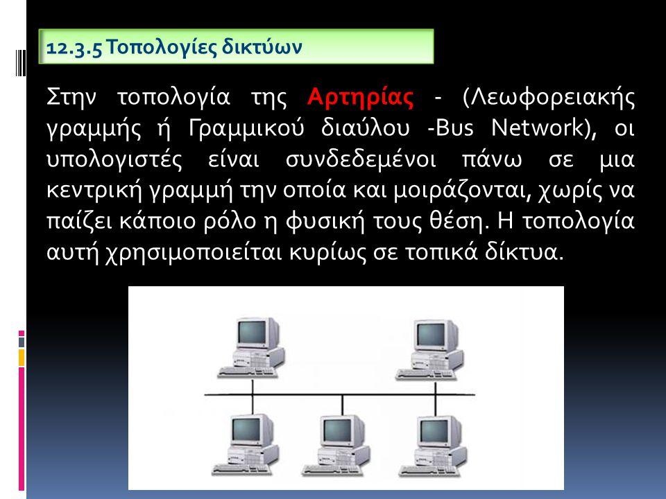 12.3.5 Τοπολογίες δικτύων Στην τοπολογία της Αρτηρίας - (Λεωφορειακής γραμμής ή Γραμμικού διαύλου -Bus Network), οι υπολογιστές είναι συνδεδεμένοι πάνω σε μια κεντρική γραμμή την οποία και μοιράζονται, χωρίς να παίζει κάποιο ρόλο η φυσική τους θέση.