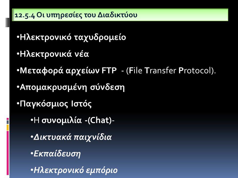 12.5.4 Οι υπηρεσίες του Διαδικτύου Ηλεκτρονικό ταχυδρομείο Ηλεκτρονικά νέα Μεταφορά αρχείων FTP - (File Transfer Protocol). Απομακρυσμένη σύνδεση Παγκ
